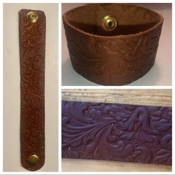 handmade Jewelry - Handmade floral design leather cuff bracelet
